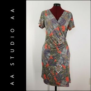 AA Studio AA Woman Faux Wrap Paisley Dress Size 8